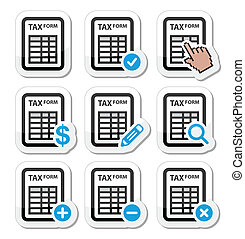 Tax form, taxation, finance icons - Black and blue labels...