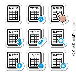 Tax form, taxation, finance icons