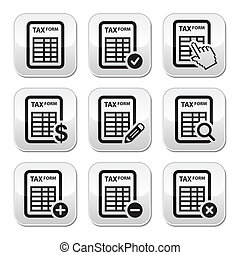 Tax form, taxation, finance vector - Grey square buttons set...