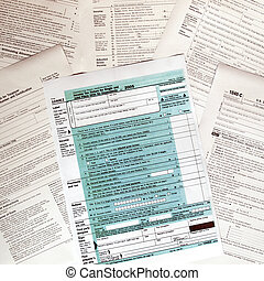 Tax forms - Range of various blank USA tax forms