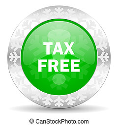 tax free green icon, christmas button
