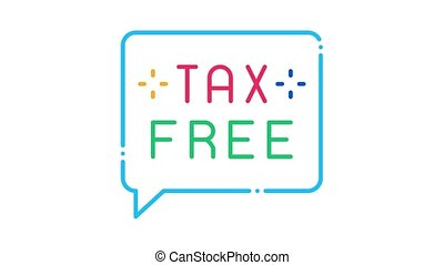 Tax Free Icon Animation. color Tax Free animated icon on white background