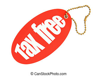 tax free price tag against white background, there is no...