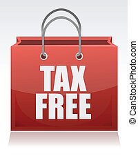 tax free shopping bag over a white background