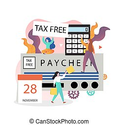 Tax free shopping vector concept for web banner, website page