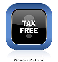 tax free square glossy icon