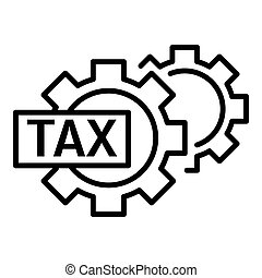 Tax gear icon, outline style