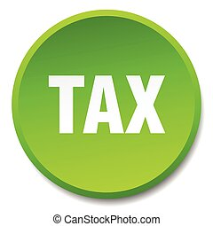 tax green round flat isolated push button