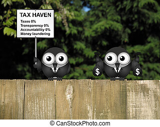 Tax Haven - Bird businessman holding bags of money deposited...