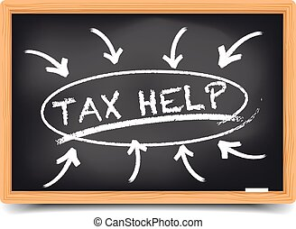 Tax Help Focus - detailed illustration of a blackboard with ...