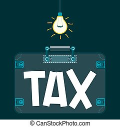 """""""Tax"""" in the suitcase in a dark room under the light bulb. Taxation. To escape from paying taxes. Criminal business."""