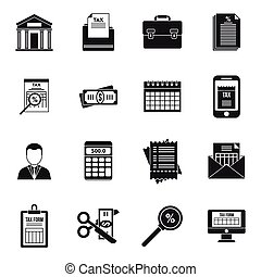 Tax inspector accounting icons set, simple style