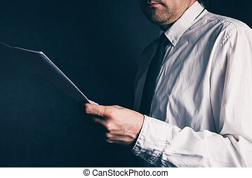 Tax inspector doing financial auditing, businessman reading...