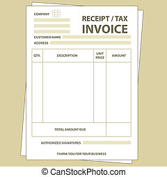 Tax invoice - Illustration of unfill paper tax invoice form