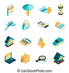 Tax Isometric Icons Set