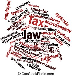 Tax law - Abstract word cloud for Tax law with related tags...