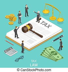 Tax law flat isometric vector concept.