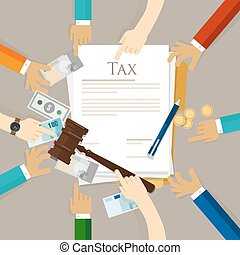 Tax law gavel hammer with money and paper court of financial...