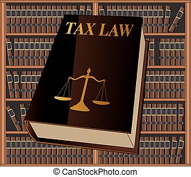 Tax Law is an illustration of a tax law book used by lawyers and judges. Represents legal matters and legal proceedings.