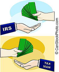 Tax man - Cartoon illustration showing a person handing over...