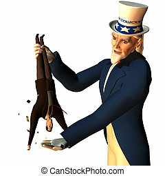 Government represented by Uncle Sam shaking a businessman free of his money in order to collect taxes.