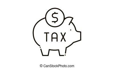 Tax Money Box Icon Animation. black Tax Money Box animated icon on white background