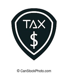 tax obligation shield silhouette style vector illustration design