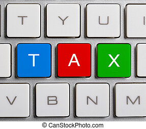 Tax On Keyboard - Tax text on the colorful buttons of the...