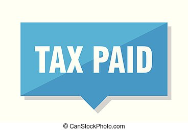 tax paid price tag - tax paid blue square price tag