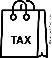 Tax paper bag icon, outline style