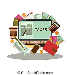 Tax payment concept. Business background in flat style. Vector illustration.