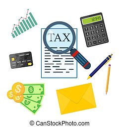 Tax payment concept. Vector illustration.