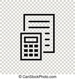 Tax payment icon in flat style. Budget invoice vector illustration on white isolated background. Calculate document business concept.