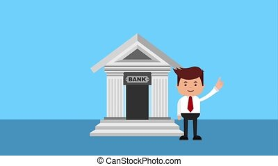 tax payment related - businessman waving hand and bank tax...