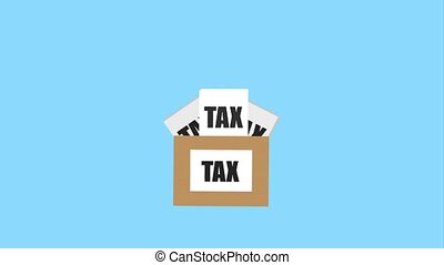 tax payment related - cardboard box with tax payment form...