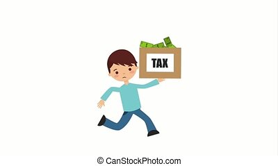 tax payment related - cartoon man running with tax payment...