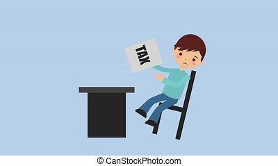 tax payment related - man sitting in desk with chair worried...
