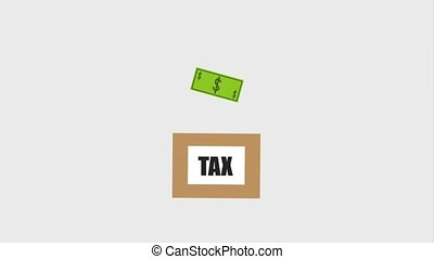 tax payment related - tax payment cardboard box with...