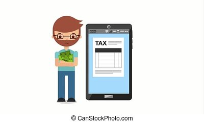 tax payment related - tired taxpayer with money and...
