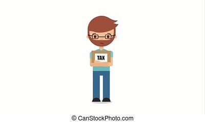 tax payment related - tired taxpayer with tax payment in...