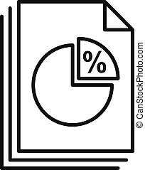 Tax pie chart icon. Outline tax pie chart vector icon for web design isolated on white background