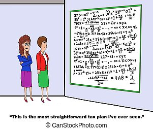 Tax Plan - Accounting cartoon about complex tax plan.