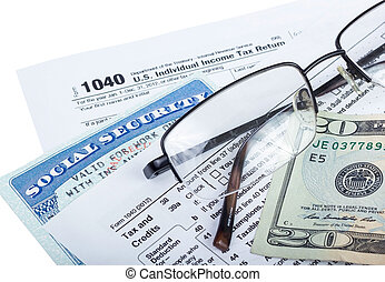 Tax preparation - American federal tax form 1040 with money ...