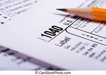 Tax Preparation - Tax prepaation items including a pencil, ...