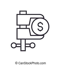 tax reduction linear icon, sign, symbol, vector on isolated background