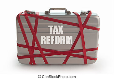 Tax reform printed on a briefcase tied with red tape
