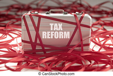 Tax reform red tape - Red tape around a briefcase with tax ...