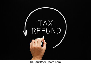 Tax Refund Arrow Concept On Blackboard