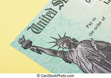 Close up of part of a tax refund cheque