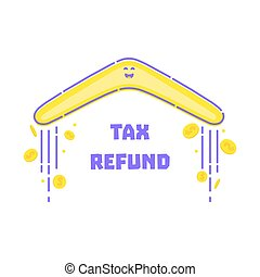 Tax refund concept. Turning back boomerang with gold dollar...